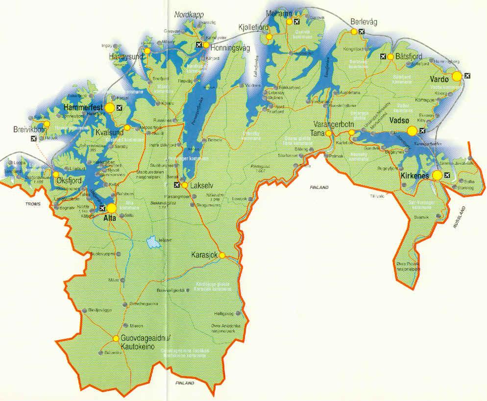 finnmark kart Kart Finnmark fylke